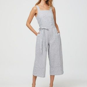 Beachlunchlounge XS Linen Jumpsuit Blue Stripe